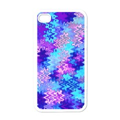 Blue And Purple Marble Waves Apple Iphone 4 Case (white)