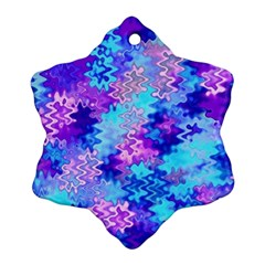 Blue and Purple Marble Waves Snowflake Ornament (2-Side)