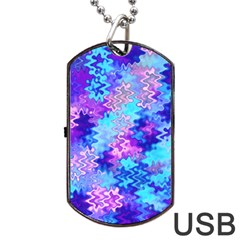 Blue and Purple Marble Waves Dog Tag USB Flash (One Side)