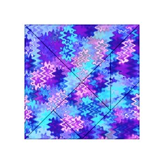 Blue And Purple Marble Waves Acrylic Tangram Puzzle (4  X 4 )
