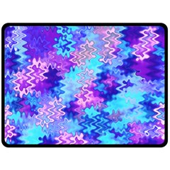 Blue and Purple Marble Waves Double Sided Fleece Blanket (Large)