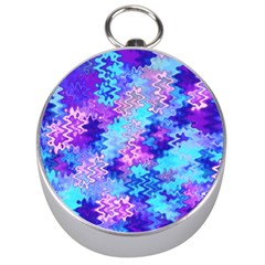 Blue And Purple Marble Waves Silver Compasses