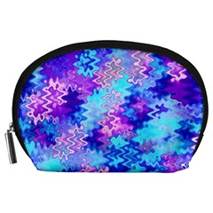 Blue and Purple Marble Waves Accessory Pouches (Large)