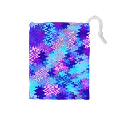 Blue and Purple Marble Waves Drawstring Pouches (Medium)
