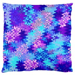 Blue and Purple Marble Waves Large Flano Cushion Cases (One Side)