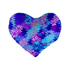 Blue and Purple Marble Waves Standard 16  Premium Flano Heart Shape Cushions