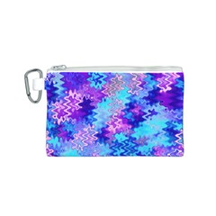 Blue and Purple Marble Waves Canvas Cosmetic Bag (S)