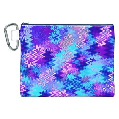 Blue and Purple Marble Waves Canvas Cosmetic Bag (XXL)
