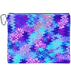 Blue and Purple Marble Waves Canvas Cosmetic Bag (XXXL)