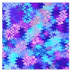 Blue and Purple Marble Waves Large Satin Scarf (Square)
