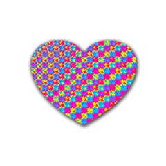 Crazy Yellow And Pink Pattern Rubber Coaster (heart)