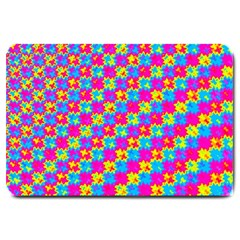 Crazy Yellow And Pink Pattern Large Doormat