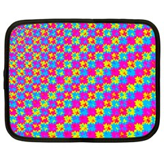 Crazy Yellow And Pink Pattern Netbook Case (large)