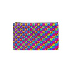 Crazy Yellow And Pink Pattern Cosmetic Bag (small)