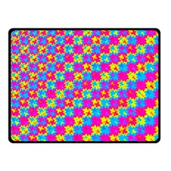 Crazy Yellow And Pink Pattern Fleece Blanket (small)
