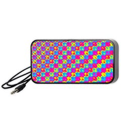 Crazy Yellow and Pink Pattern Portable Speaker (Black)