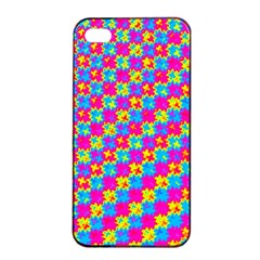 Crazy Yellow and Pink Pattern Apple iPhone 4/4s Seamless Case (Black)