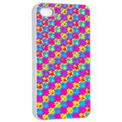 Crazy Yellow And Pink Pattern Apple Iphone 4/4s Seamless Case (white)