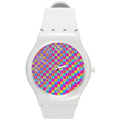 Crazy Yellow And Pink Pattern Round Plastic Sport Watch (m)