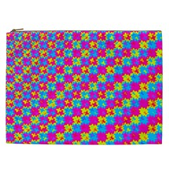 Crazy Yellow And Pink Pattern Cosmetic Bag (xxl)