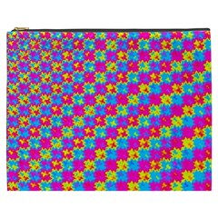 Crazy Yellow And Pink Pattern Cosmetic Bag (xxxl)