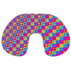 Crazy Yellow and Pink Pattern Travel Neck Pillows