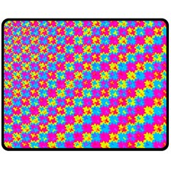 Crazy Yellow and Pink Pattern Double Sided Fleece Blanket (Medium)