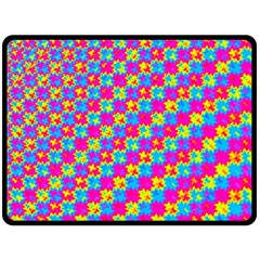 Crazy Yellow and Pink Pattern Double Sided Fleece Blanket (Large)