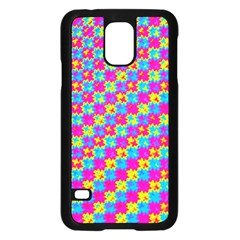 Crazy Yellow and Pink Pattern Samsung Galaxy S5 Case (Black)