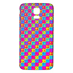 Crazy Yellow and Pink Pattern Samsung Galaxy S5 Back Case (White)