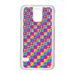 Crazy Yellow and Pink Pattern Samsung Galaxy S5 Case (White)