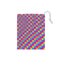 Crazy Yellow and Pink Pattern Drawstring Pouches (Small)