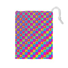 Crazy Yellow and Pink Pattern Drawstring Pouches (Large)