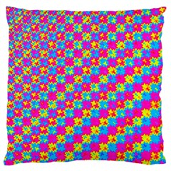 Crazy Yellow and Pink Pattern Large Flano Cushion Cases (Two Sides)