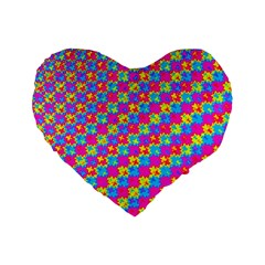 Crazy Yellow and Pink Pattern Standard 16  Premium Flano Heart Shape Cushions