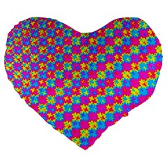 Crazy Yellow and Pink Pattern Large 19  Premium Flano Heart Shape Cushions