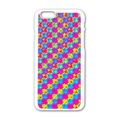 Crazy Yellow and Pink Pattern Apple iPhone 6 White Enamel Case