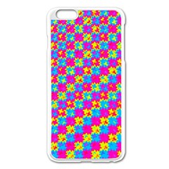 Crazy Yellow and Pink Pattern Apple iPhone 6 Plus Enamel White Case