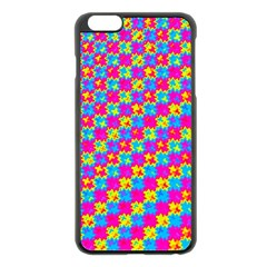 Crazy Yellow And Pink Pattern Apple Iphone 6 Plus Black Enamel Case