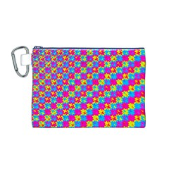 Crazy Yellow and Pink Pattern Canvas Cosmetic Bag (M)