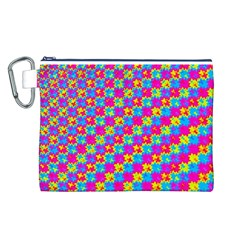 Crazy Yellow and Pink Pattern Canvas Cosmetic Bag (L)