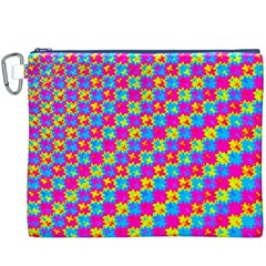 Crazy Yellow and Pink Pattern Canvas Cosmetic Bag (XXXL)