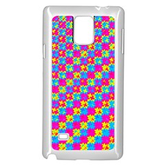 Crazy Yellow and Pink Pattern Samsung Galaxy Note 4 Case (White)