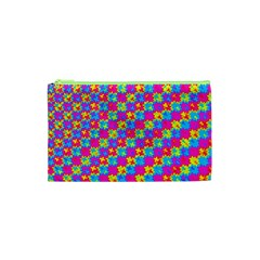 Crazy Yellow And Pink Pattern Cosmetic Bag (xs)