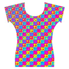 Crazy Yellow and Pink Pattern Women s Cap Sleeve Top