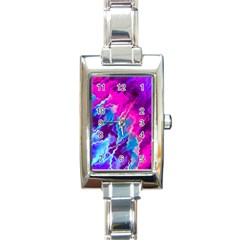 Stormy Pink Purple Teal Artwork Rectangle Italian Charm Watches