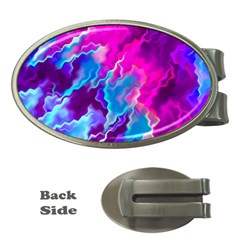 Stormy Pink Purple Teal Artwork Money Clips (oval)