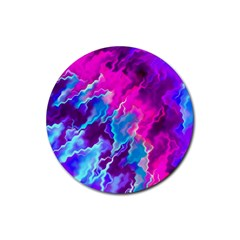 Stormy Pink Purple Teal Artwork Rubber Coaster (round)