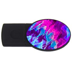 Stormy Pink Purple Teal Artwork Usb Flash Drive Oval (4 Gb)
