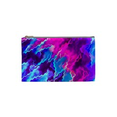 Stormy Pink Purple Teal Artwork Cosmetic Bag (small)